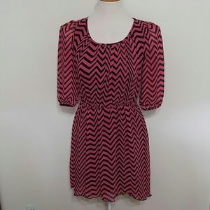Pink and black chevron 1/2 sleeve peasant dress